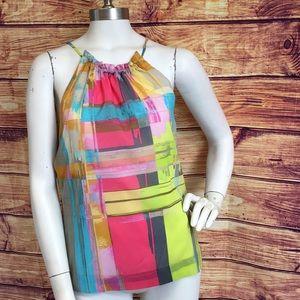 Trina Turk Multi Print Silk Tie Halter Top